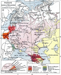 Ethnic map of European Russia before the First World War