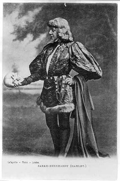 French actress Sarah Bernhardt as Hamlet, in a publicity postcard from the end of the 19th century. Hamlet has been a popular breeches role.