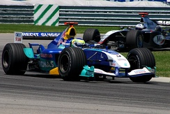 Giancarlo Fisichella driving for the Sauber team at the 2004 US Grand Prix at Indianapolis.