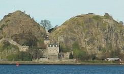 Looking north at Dumbarton Rock, the chief fort of Strathclyde from the 6th century to 870. The fort of Alt Clut was on the right-hand summit.