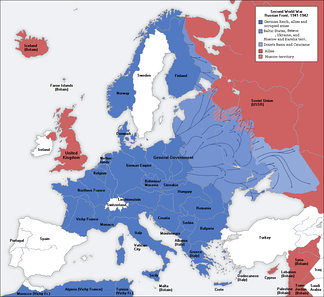The Axis-controlled territory in Europe at the time of its maximal expansion (1941–42).