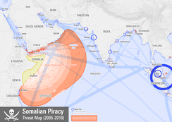 Map showing the extent of Somali pirate attacks on shipping vessels between 2005 and 2010.