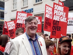 Stephen Fry with Stonewall marchers at WorldPride 2012 in London