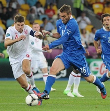 Gerrard (left) playing for England at UEFA Euro 2012