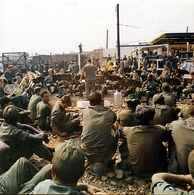 The United States Army Band plays Christmas music at the Tan Son Nhut Air Base in Vietnam during the holiday season in late December 1970.