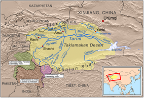 Map showing the rivers of the Tarim Basin and Yarkand River