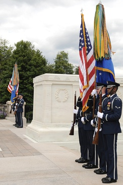 Two USAF HG color teams take part in an Air Force Wreath-Laying ceremony at the Tomb of the Unknowns at Arlington National Cemetery.