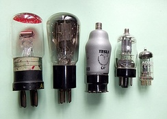 Examples of low power triodes from 1918 (left) to miniature tubes of the 1960s (right)