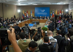 South American presidents gathered during an extraordinary meeting for the signing of the UNASUR Constitutive Treaty in May 2008 in Brasilia.