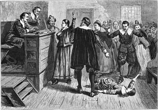 Witchcraft trial at Salem Village (1876 illustration).