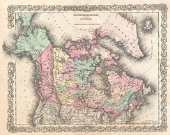 1855 Map of Northern America, by Joseph Colton, showing Canada East and Canada West