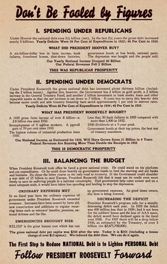 1936 re-election handbill for Roosevelt promoting his economic policy