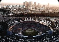Dodger Stadium and the Los Angeles skyline, 1987