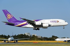 An Airbus A380 of the national carrier Thai Airways