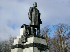 The Statue of emigrant, industrialist and philanthropist Andrew Carnegie in his home town of Dunfermline.