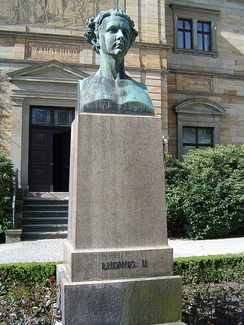 Bust of Ludwig II in front of Wahnfried, Wagner's villa in Bayreuth, which Ludwig had paid for.