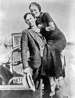 Bonnie and Clyde in March 1933 in a photo found by police at an abandoned hideout