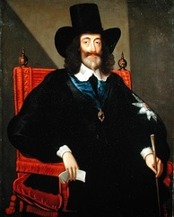 Charles at his trial, by Edward Bower, 1649. He let his beard and hair grow long because Parliament had dismissed his barber, and he refused to let anyone else near him with a razor.[253]