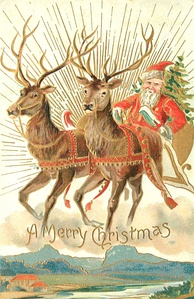 A 1907 Christmas card with Santa and some of his reindeer
