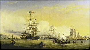 The mixed propulsion corvette Bartolomeu Dias and other Portuguese warships arriving at the Tagus with Queen Stephanie on board, in 1859