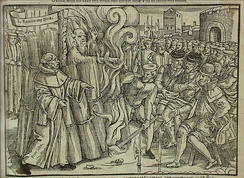 Cranmer's martyrdom, from John Foxe's book (1563)