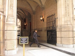 Side view of the Dakota archway, showing the step Lennon climbed before he collapsed in the lobby