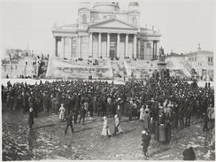 Hundreds of demonstrators at the Helsinki Senate Square with the Helsinki Cathedral high in the background. The demonstrations were a prelude to the later local and general strikes.