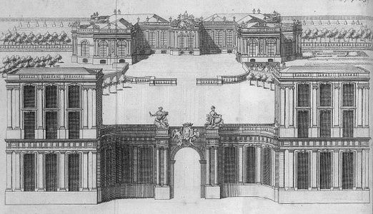 Drawing of the Palais Bourbon in 1730