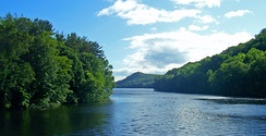 The East Branch Reservoir, part of the New York City water supply system, is formed by impounding the eastern tributary of the Croton River.