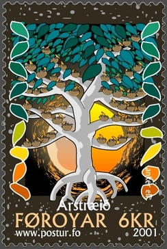 Tree of the year – a Faroese stamp depicting a traditional Faroese version of the year-riddle.