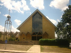 The First Baptist Church of Bandera is across from the Frontier Times Museum
