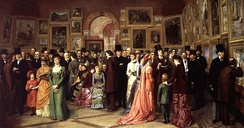 A Private View at the Royal Academy, 1881 by William Powell Frith, depicting Oscar Wilde and other Victorian worthies at a private view of the 1881 exhibition