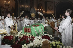 The funeral of the Patriarch Alexy II in the Cathedral of Christ the Saviour, Moscow
