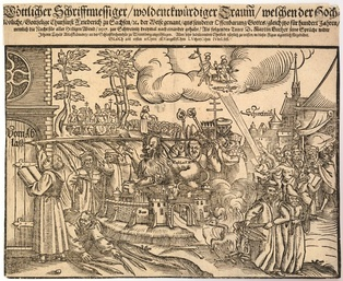 Print made for the 1617 Reformation Jubilee showing Luther enscribing the Theses on the Wittenberg church door with a giant quill