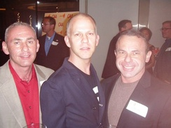 (l-r) Governor appointee Don Norte, Glee co-creator Ryan Murphy, and Norte's husband, gay activist Kevin Norte, at Spring Time GLAAD 2010's charitable event in Century City, Los Angeles, California.