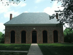 Hanover County Courthouse (c. 1735–1742), with its arcaded front, is typical of a numerous colonial courthouse built in Virginia.