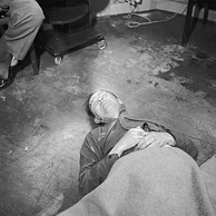Himmler's corpse after his suicide, May 1945