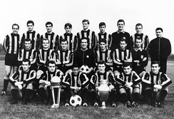 The Inter team which won the Intercontinental Cup in 1965