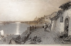 J.M.W. Turner, Rietz near Saumur 1826, engraved by Brandard, Château de Montsoreau-Museum of Contemporary Art. Showing a sunset on the Loire river with the Vieux-port of Montsoreau, the new road and the château.