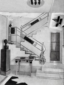 Stairway in the hôtel particulier of fashion designer-art collector Jacques Doucet (1927). Design by Joseph Csaky. The geometric forms of Cubism had an important influence on Art Deco