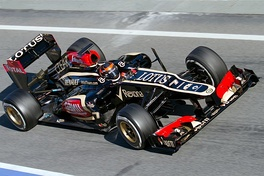 Kimi Räikkönen driving the Lotus E21 during pre-season testing at Catalonia.