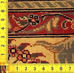 Back side of a Qom rug with very high knot density