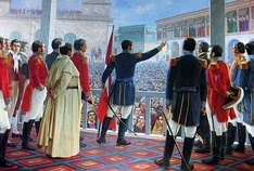 San Martín proclaims the independence of Peru. Oil painting by Juan Lepiani.