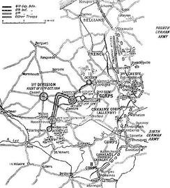 Locations of the Allied and German armies, 19 October 1914