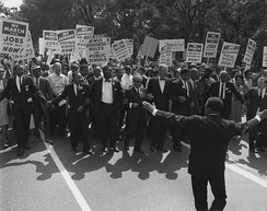 March on Washington for Jobs and Freedom, August 28, 1963, shows civil rights leaders and union leaders.