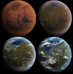 Artist's conception of the process of terraforming Mars as discussed in some works of science fiction