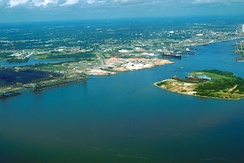 Aerial view of the port of Mobile.