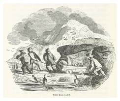 Illustration from John Nunn's book about the three years he and his shipwrecked crew survived on the island in the 1820s.