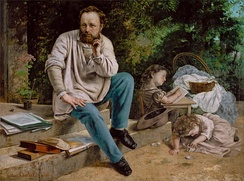 Proudhon and his children by Gustave Courbet, 1865