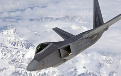 An F-22, based at Elmendorf AFB, Alaska, over mountain terrain